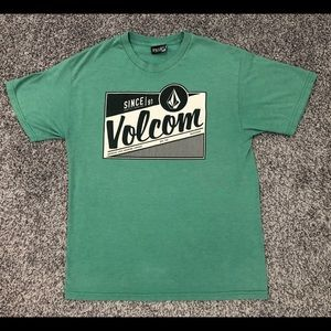 Volcom Stone Green Black Sign Skate Board Shirt